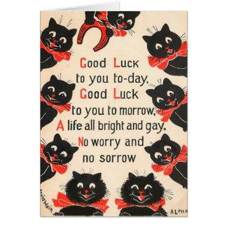Kort för svarta katterlycka tillhälsning