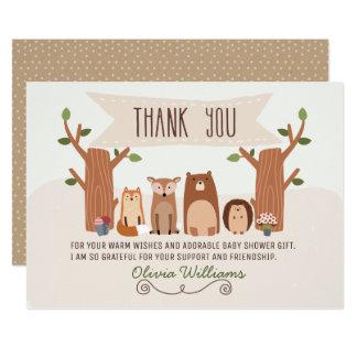 Kort för tack för baby showerskogsmarkdjur 12,7 x 17,8 cm inbjudningskort