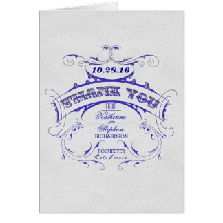 Kort för tack för blåttbläckvintage bröllop
