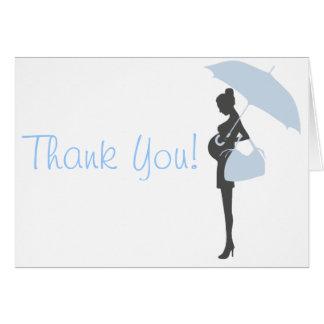 Kort för tack för blåttSilhouettebaby shower