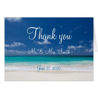 Kort för tack för blåttstrandbröllop