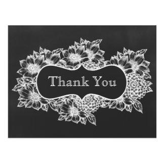 kort för tack för blom- bröllop för svart tavla vykort