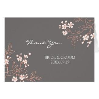 Kort för tack för bröllop för korallgrå färg