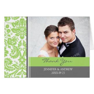 Kort för tack för bröllop för limefruktgrå färg