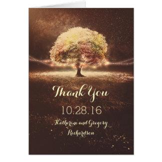 Kort för tack för bröllop för ljusträdnedgång