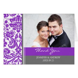 Kort för tack för bröllop för plommongrå färg