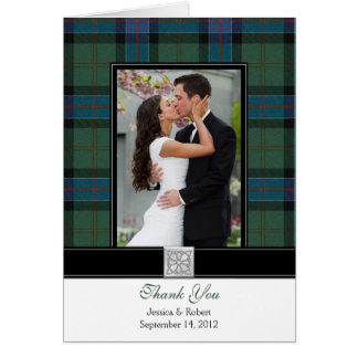 Kort för tack för bröllop för Sinclair Tartanfoto