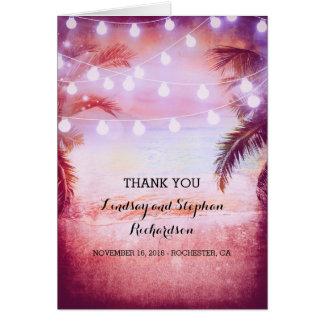 Kort för tack för bröllop för strandsolnedgång