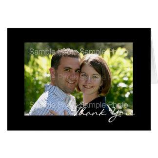 Kort för tack för bröllop för svartpersonligfoto