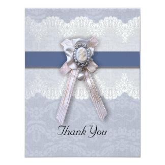 Kort för tack för Cameo för Victoriansnöreblått 10,8 X 14 Cm Inbjudningskort