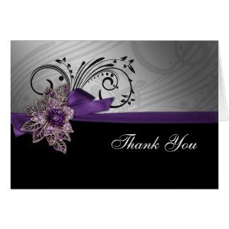 Kort för tack för Fauxbandmod purpurfärgat