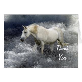 Kort för tack för för fantasivithäst & hav