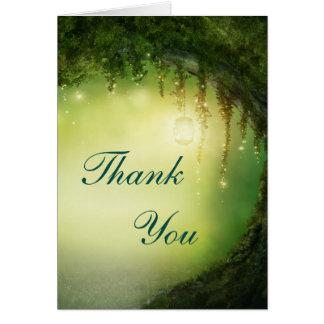 Kort för tack för förtrollad skogfantasi lantligt