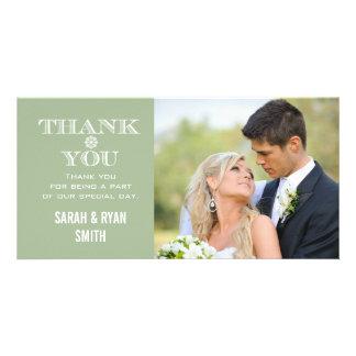 Kort för tack för foto för MintSnowflakebröllop Fotokort