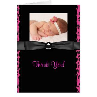 Kort för tack för foto för shock rosaLeopardbaby