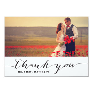 Kort för tack för handskriftbröllopfoto 12,7 x 17,8 cm inbjudningskort