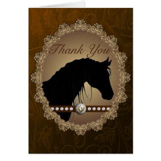 Kort för tack för härlig hästSilhouette westernt