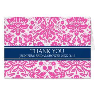 Kort för tack för möhippa för rosablått damastast
