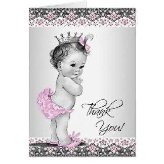 Kort för tack för Princess baby shower för vintage