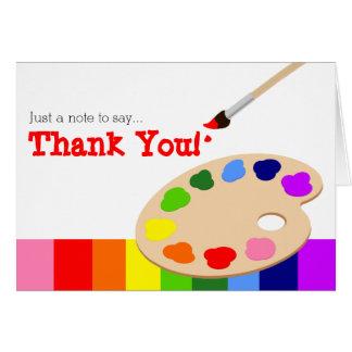 Kort för tack för regnbågekonstnärpalett