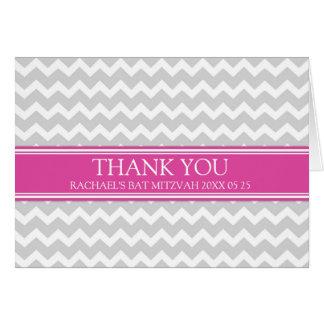 Kort för tack för rosa grå färgsparre bat mitzvah