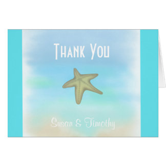 Kort för tack för sjöstjärnasnäckskalbröllop