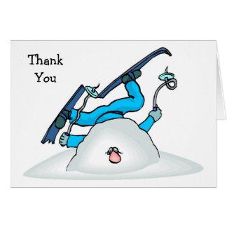 Kort för tack för snö för Skiier skidåkningvinter