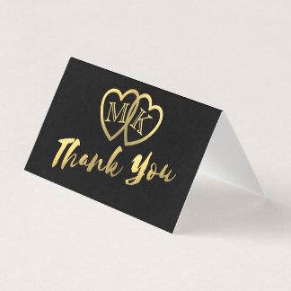 Kort för tack för svart guld- hjärtor för Matte