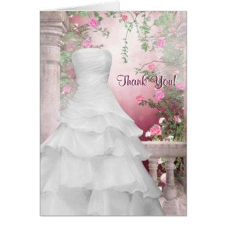 Kort för tack för vitkapparosa ros