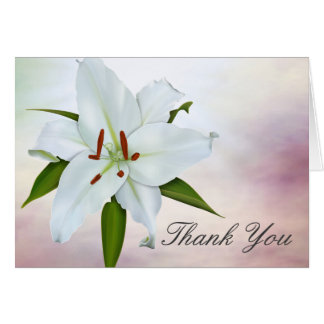 Kort för tack för vitlilja begravnings-