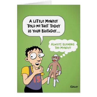 Kort för tecknadsock monkeyfödelsedag