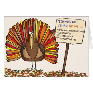 """Kort för thanksgiving""""kalkoner på strejka"""" tecknad"""