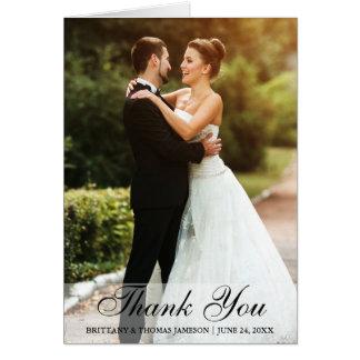 Kort för vikning för brölloptackbrud & brudgumfoto