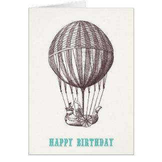 Kort för vintageballonggrattis på födelsedagen