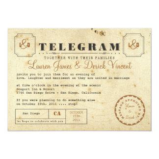Kort för vintageTelegraminbjudan 12,7 X 17,8 Cm Inbjudningskort