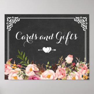 Kort & gåvor som gifta sig blommigt för svart poster