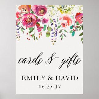 Kort & rosa blom- bröllop för gåvavattenfärg poster