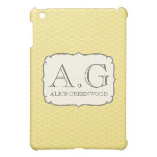 Kortkortet för gult- & vitfjällMonogram IPAD täcke iPad Mini Cases