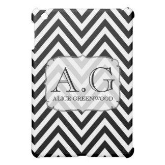 Kortkortet för svart- & vitsparreMonogram IPAD täc iPad Mini Fodral