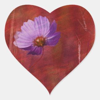 Kosmosblommagåvor Hjärtformat Klistermärke