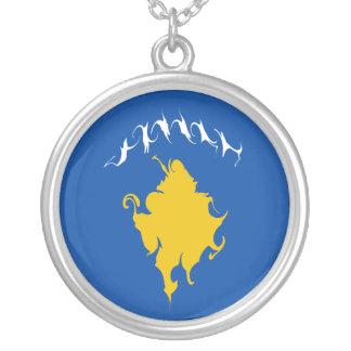 Kosovo Gnarly flagga Halsband Med Rund Hängsmycke