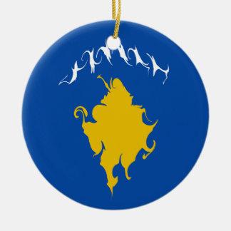 Kosovo Gnarly flagga Rund Julgransprydnad I Keramik
