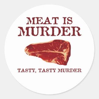 Kött är det smakliga mord runt klistermärke