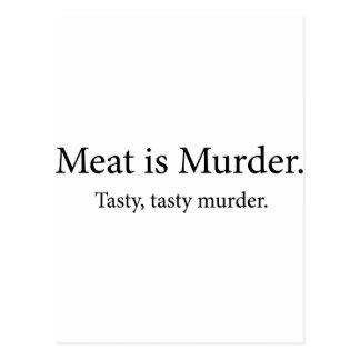 Kött är det smakliga smakliga mord för mord vykort