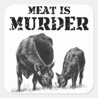 Kött är mord fyrkantigt klistermärke