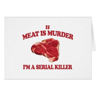 Kött är mord hälsningskort