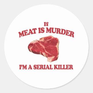 Kött är mord runt klistermärke