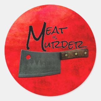 Kött är mordklistermärkear runt klistermärke