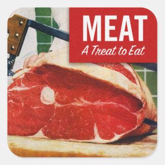 Kött för vintagehötorgskonstnötkött är det en fest fyrkantigt klistermärke
