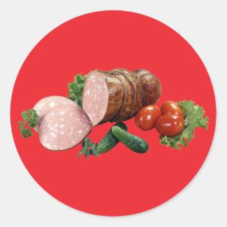 Kött och Veggies Runt Klistermärke